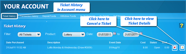 cancel a ticket screen shot